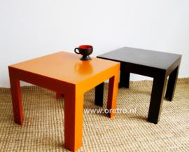 Bijzettafels Flair oranje + bruin