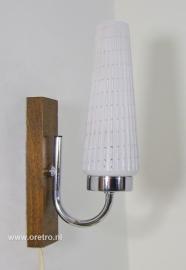 Wandlamp hout met glas '50