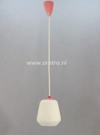 Hanglamp glas wit met roze