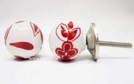 Ladeknop bol wit met rode bloem