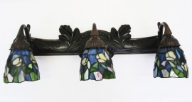 Wandlamp brons met tiffany glas