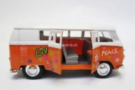 Modelauto VW bus T1 oranje Hippie  1:34