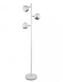 Vloerlamp retro wit 3 bolspots