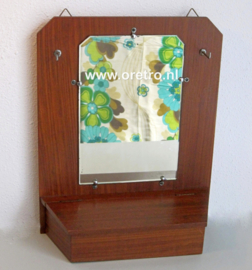 Wandspiegel teak met bakje