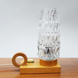 Tafellamp hout en glas nachtlampje