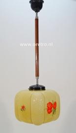 Hanglamp art deco glas met bloemen
