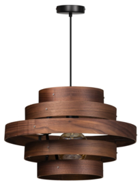 Hanglamp Walnut 5 rings hout