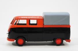 Modelauto VW bus T1 Pick up met huif oranje en bruin  1:34