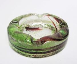 Asbak glas groen/rood