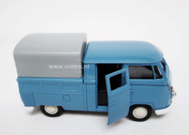 Modelauto VW bus T1 Pickup huif blauw  1:34