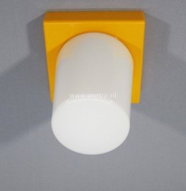 Plafondlamp glas taps + houder geel