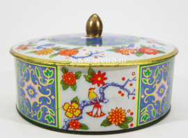 Blik China birds & flowers rond