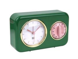Tafelklok met timer Nostalgia groen