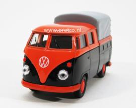 VW bus T1 Pick up met huif oranje en bruin
