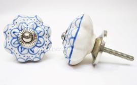 Ladeknop blauwe bloem druk