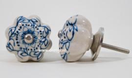 Ladeknop wit met blauwe bloemen