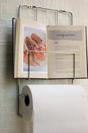 Kookboekrek met keukenrol houder