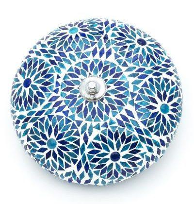 Plafondlamp mozaiek Bohemian blauw