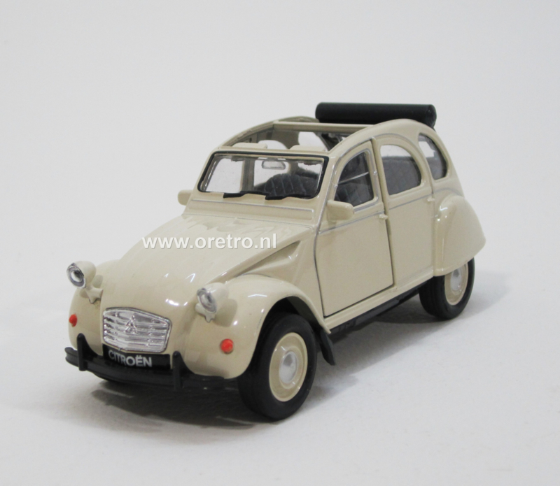 Modelauto Citroën 2CV beige met roldak  1:34