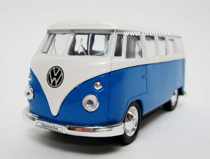 Modelauto VW bus T1 blauw  1:34