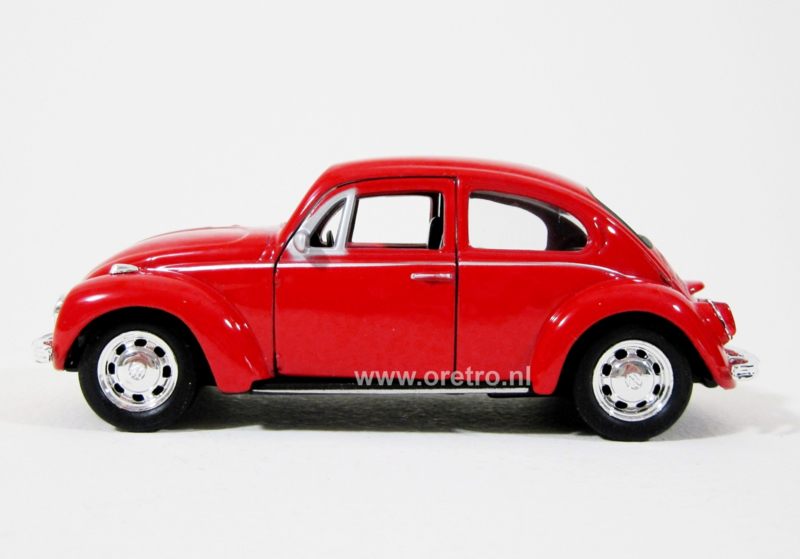 Modelauto VW kever rood  1:34