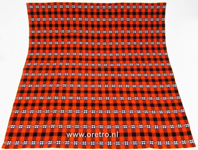 tafelkleed geblokt zwart oranje