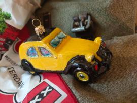 Oldtimer #2CV Christmasball geel zwart