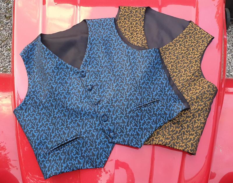 Gilet Bleu grand motiv-48-50-52-54-56