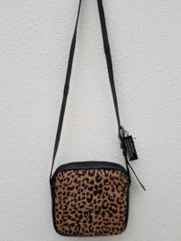 Crossover/schoudertas zwart met dierenprint
