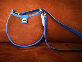Crossovertas/schoudertas bruin met blauw