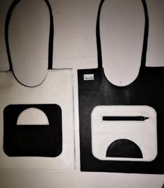 Zwart witte schoudertas met geometrische figuren