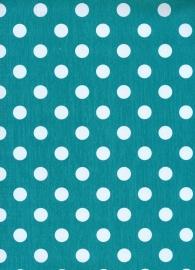 Tafelzeil Polkadots wit op turquoise (1,40m)