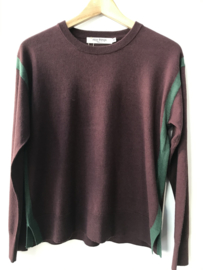Nice Things - Contrast Stripe Sweater chocolate/green
