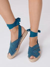 Nice Things - Espadrille sandalen in Suède, petrol blue