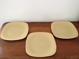 Vierkante grote borden Boch, mosterdgeel, 6 stuks
