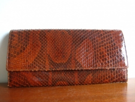 Clutch bag in slangenleer
