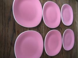 6 dessertbordjes Boch vierkant pastel