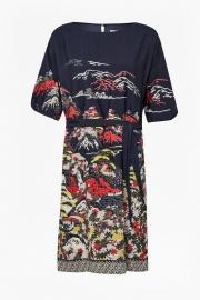 Geisha print kimono dress