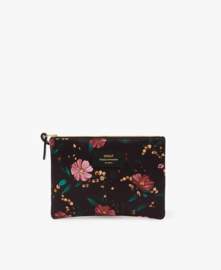 Wouf - Black Flowers Large Pouch