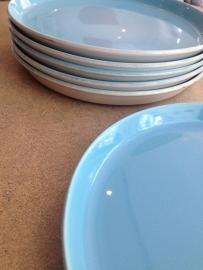 6 lichtblauwe borden Boch Frères