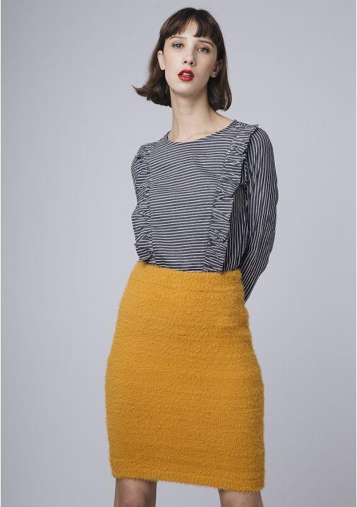 CF - Fluffy jersey pencil skirt yellow