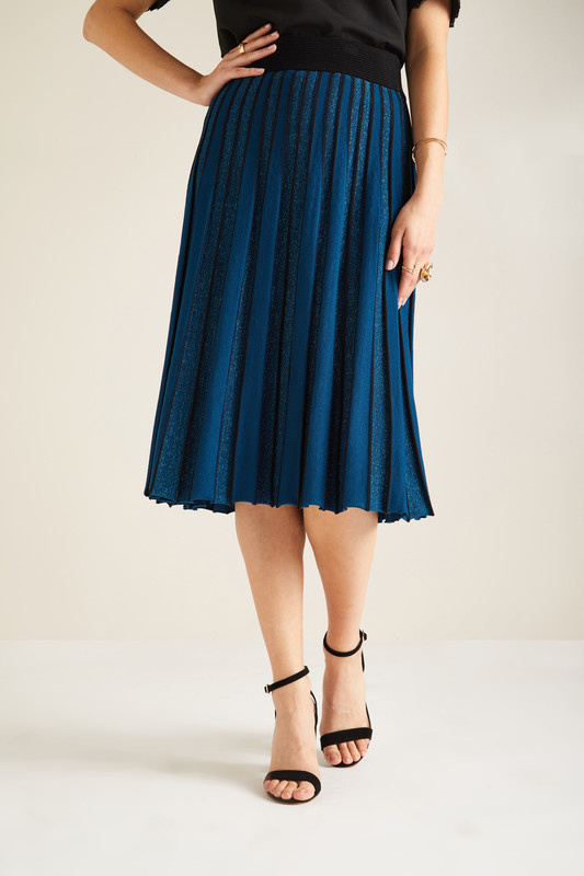 Yumi - Lurex pleated skirt in teal