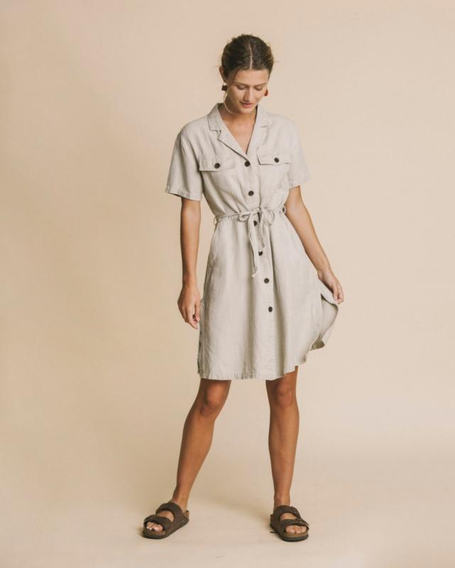 Thinking Mu - Stone Hemp Karen Dress