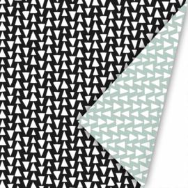 Kadopapier | triangles| zwart/wit/mint | 30 cm