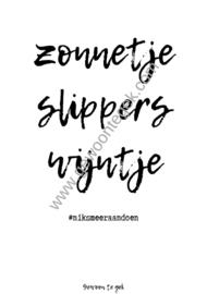 Zonnetje, slippers, wijntje