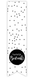Sticker label 'hartelijk bedankt'