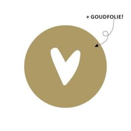 Sticker   goud met wit hartje