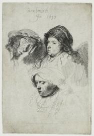 Drie vrouwenhoofden Rembrandt