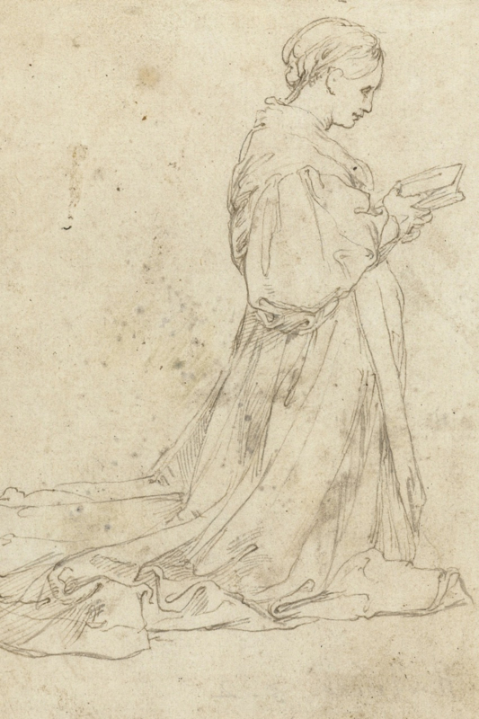 knielende vrouw met boek, Rafaël  (40x60cm)