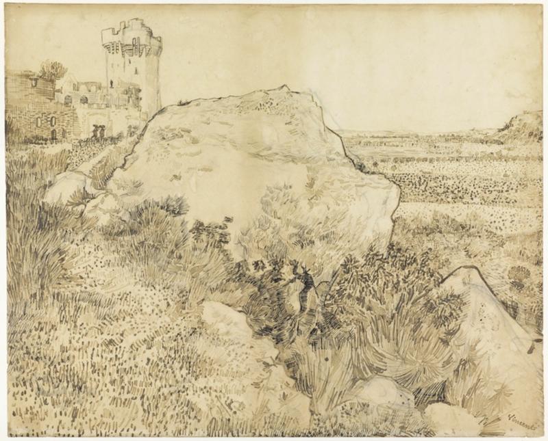 Landschap abdij Montmajour, Vincent van Gogh (40x50cm)